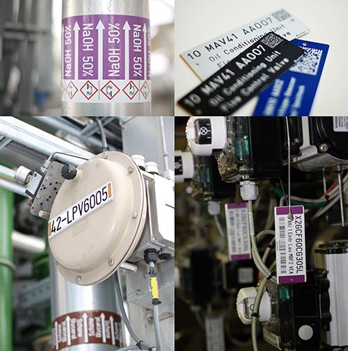 Placas de señalización e identificación Stell-MABECONTA para equipos industriales en plantas de proceso